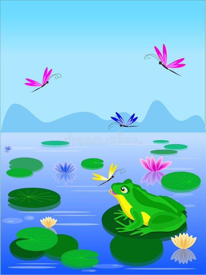 Sammanträde för grön groda för tecknad film på ett liljablad vektor illustrationer