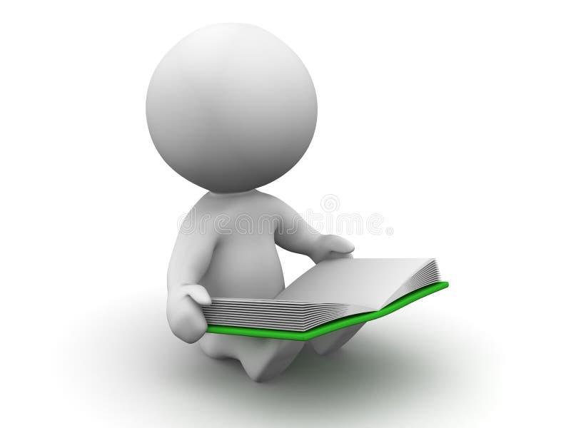 läsning för man 3D en boka stock illustrationer