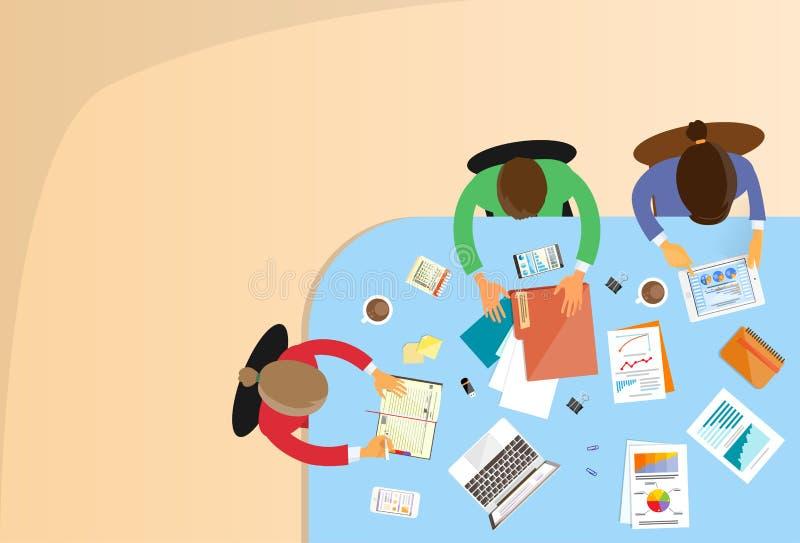 Sammanträde för kontor för teamwork för affärsfolk funktionsdugligt vektor illustrationer