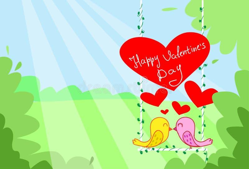 Sammanträde för kyss för två fågelpar på röd hjärta för gunga stock illustrationer