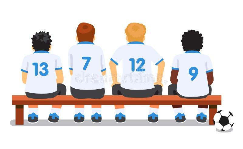 Sammanträde för lag för fotbollfotbollsport på en bänk vektor illustrationer
