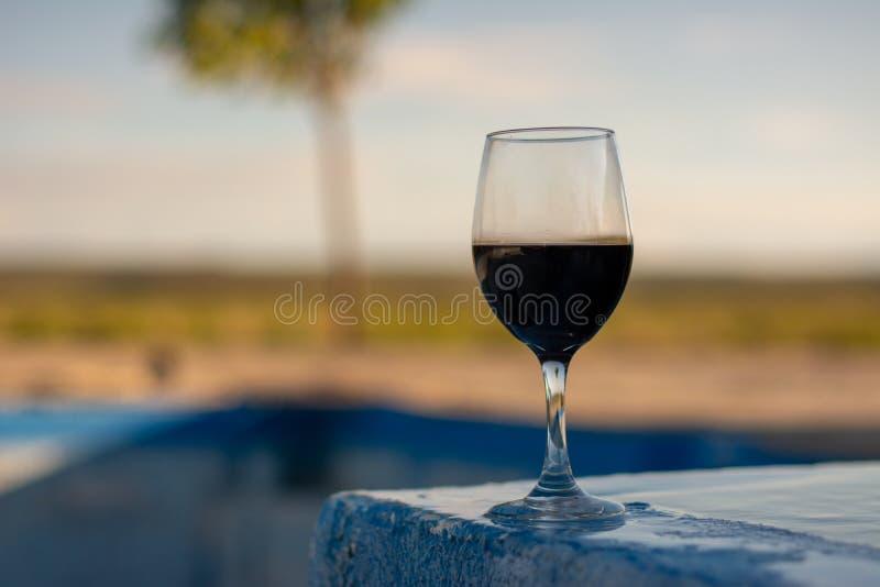 Sammanträde för rött vinexponeringsglas på pölsida royaltyfri fotografi