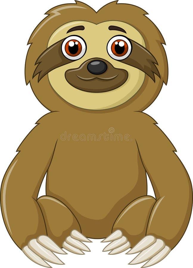 Sammanträde för rolig sengångare för tecknad film djurt vektor illustrationer