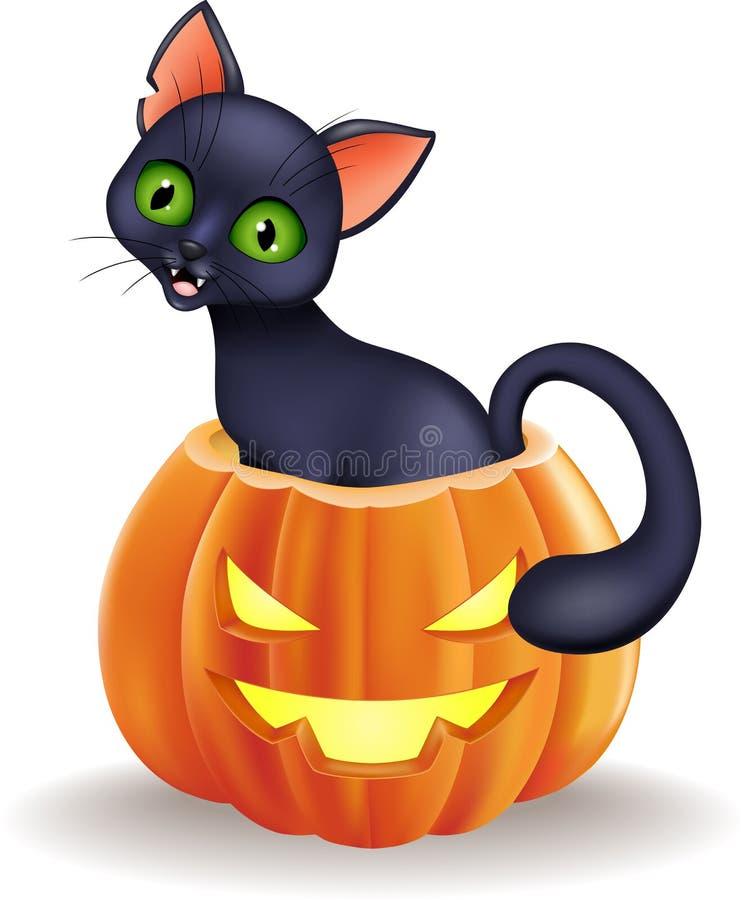 Sammanträde för svart katt för tecknad film i allhelgonaaftonpumpa royaltyfri illustrationer