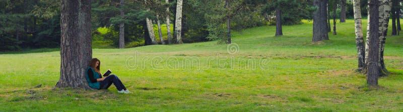 Sammanträde för tonårs- flicka under trädet och läseboken royaltyfri bild