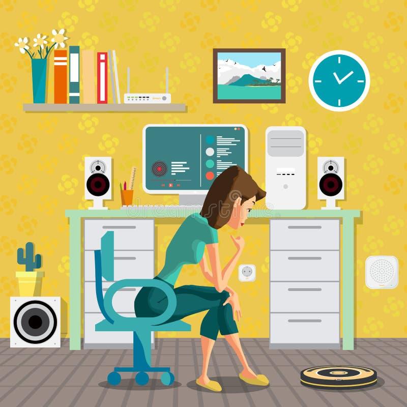 Sammanträde för ung kvinna på ett skrivbord vektor illustrationer