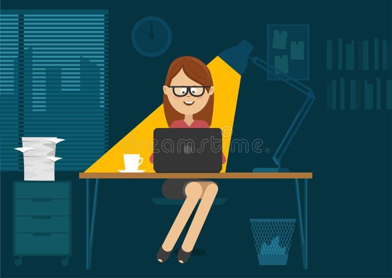 Sammanträde för ung kvinna på kontorsskrivbordet på natten stock illustrationer