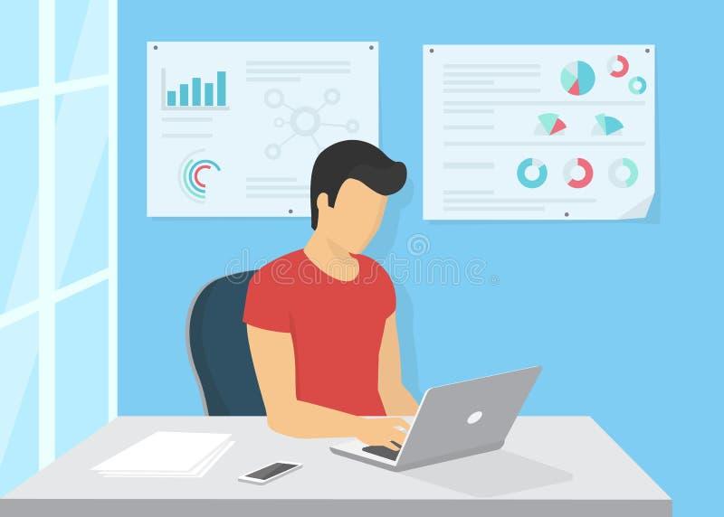 Sammanträde för ung man i kontoret på arbetsskrivbordet och arbete med bärbara datorn stock illustrationer