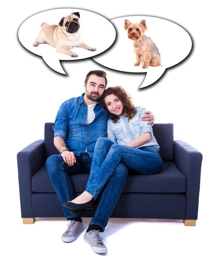 Sammanträde för ung man och kvinnapå soffan och drömma om hundkapplöpningisolator arkivbild