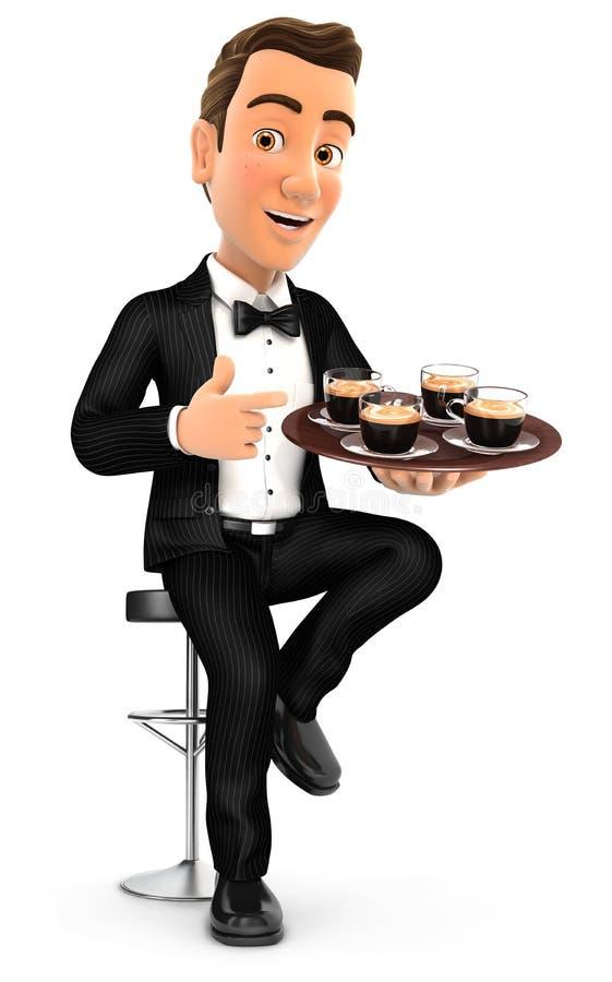 sammanträde för uppassare 3d på stångstol med koppar kaffe stock illustrationer