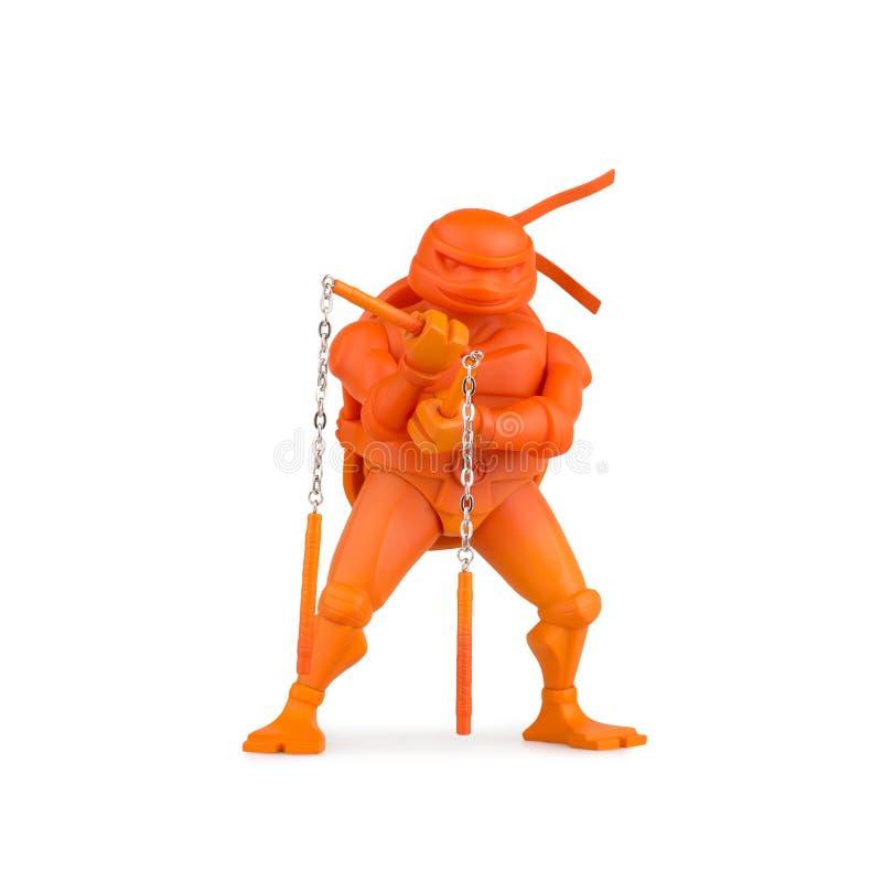 Sammelbare Karikatur Spielzeug Ninja Turtles auf einem weißen Hintergrund lizenzfreies stockbild