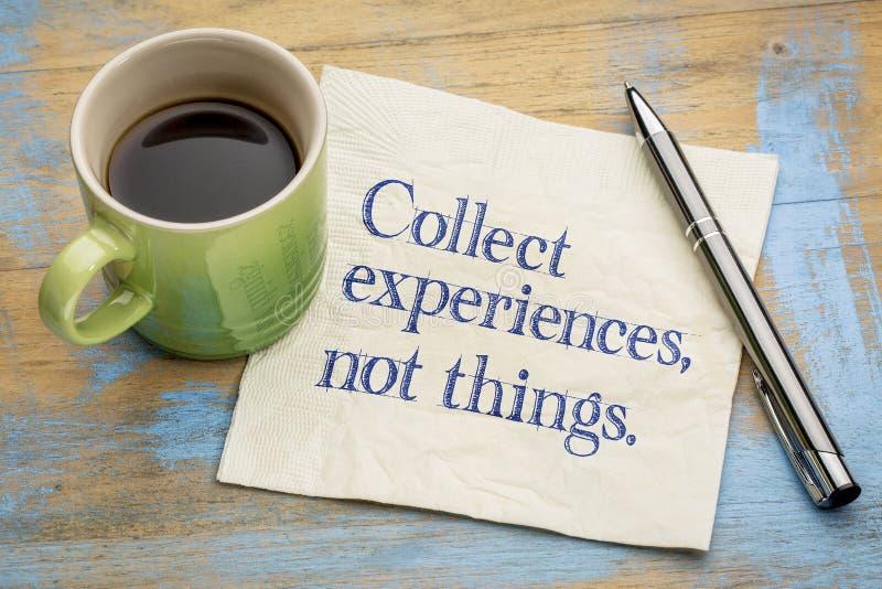 Sammeln Sie Sachen der Erfahrungen nicht lizenzfreies stockbild
