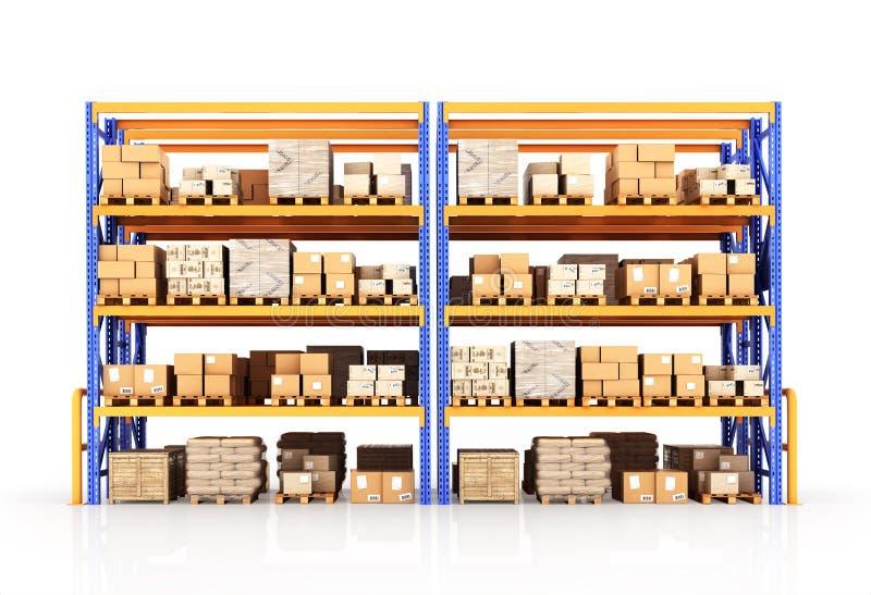Sammelpacks auf hölzerner Ladeplatte stock abbildung