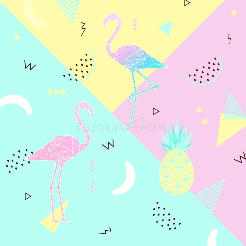 Sammer横幅,海报 有魄力的柔和的淡色彩 时髦纹理 与桃红色火鸟,热带水果的美好的夏天背景 向量例证