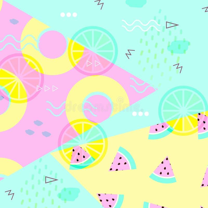 Sammer横幅,海报 有魄力的柔和的淡色彩 时髦纹理 与热带水果传染媒介的美好的夏天背景 库存例证