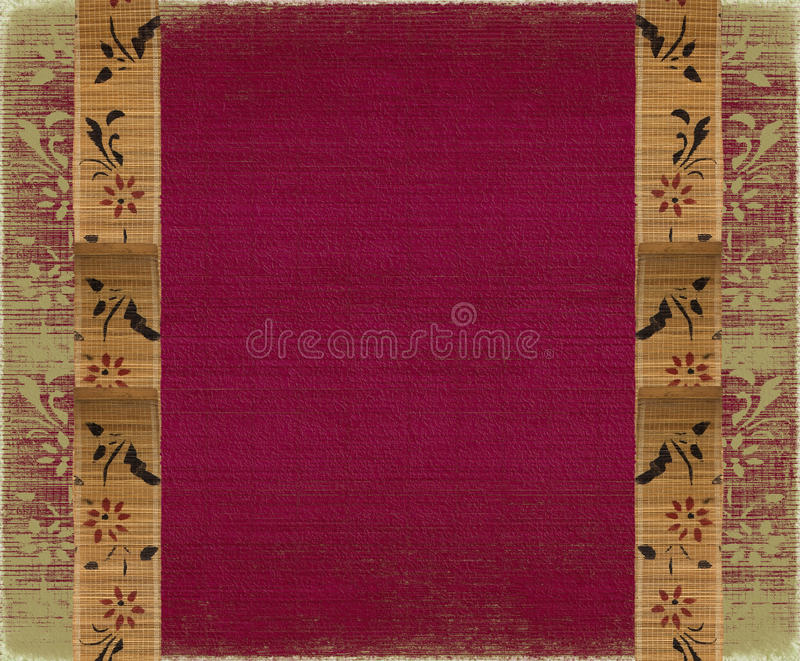 sammet för pink för ram för bambubaner blom- royaltyfria bilder