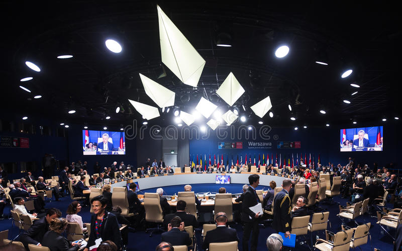 Sammit di NATO in Warshaw, Polonia immagine stock