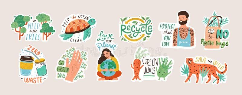 Sammlung Ökologieaufkleber mit Slogans - nullabfall, bereiten, eco freundliche Werkzeuge, Umweltschutz auf B?ndel von lizenzfreie abbildung