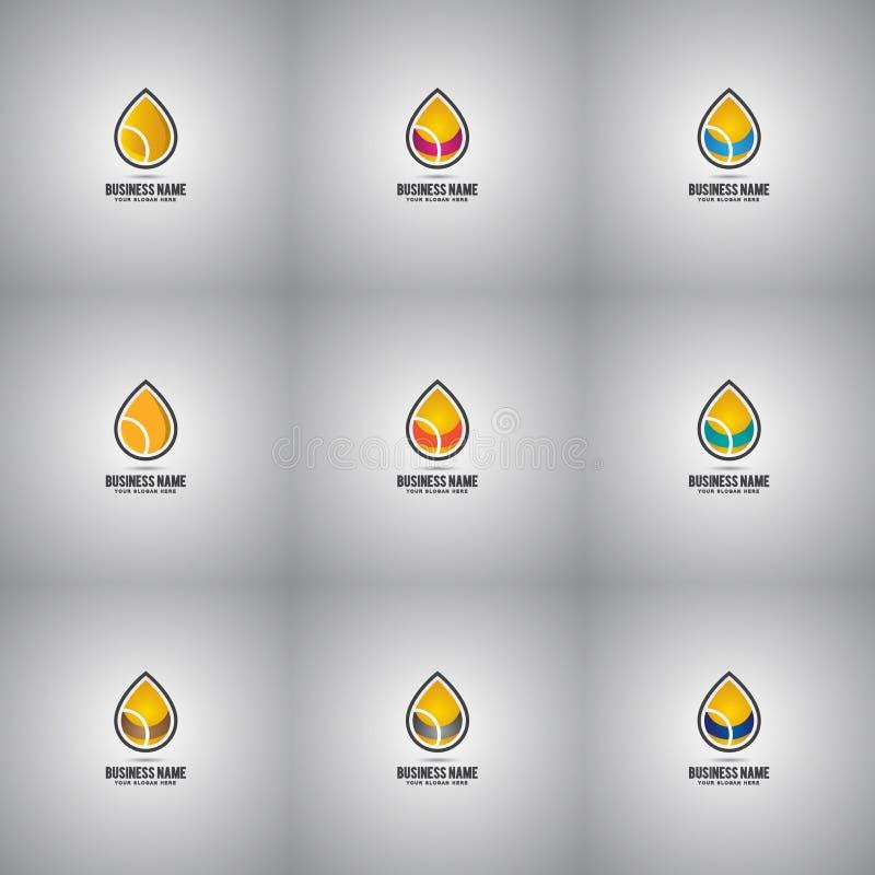 Sammlung Öl-Tropfen Logo Set Company vektor abbildung