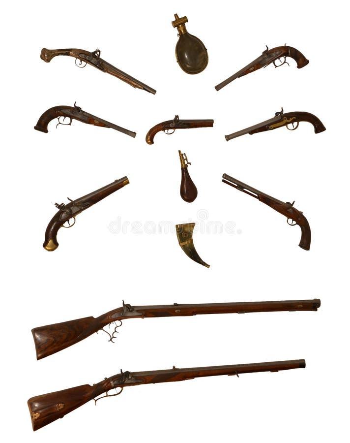 Sammlung antike Feuerwaffen lizenzfreie stockfotos