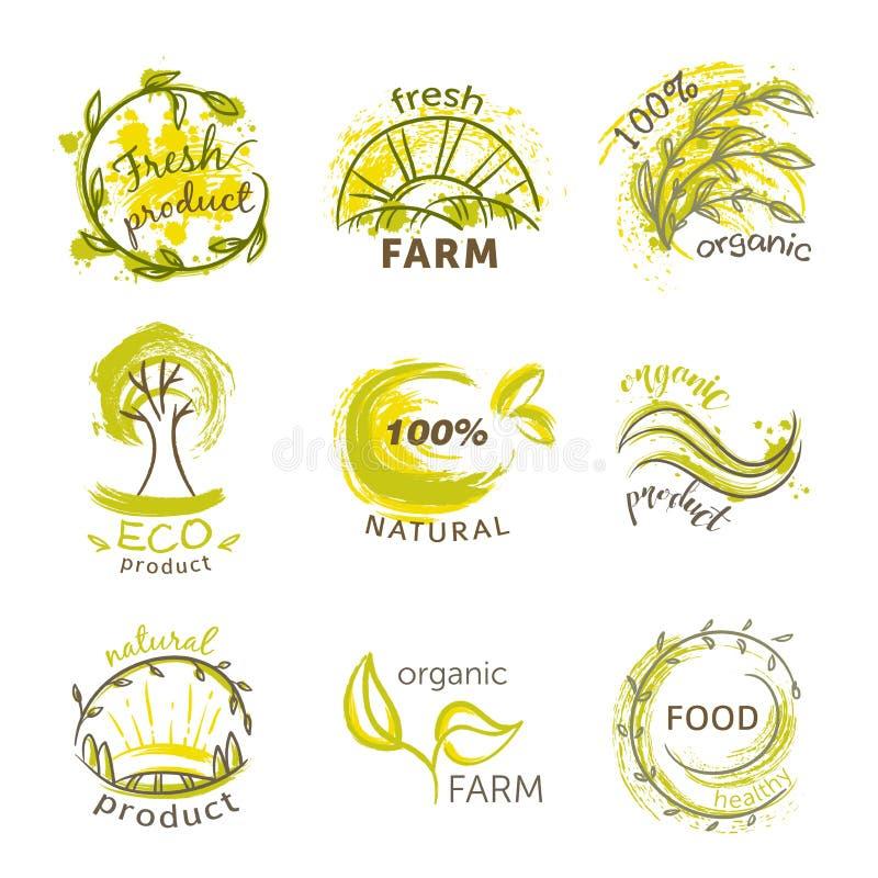 Sammlung Aufkleber und Ausweise mit Zusammenfassung spritzt in der Aquarellart für organisches, natürliches, eco und Bioprodukte stock abbildung