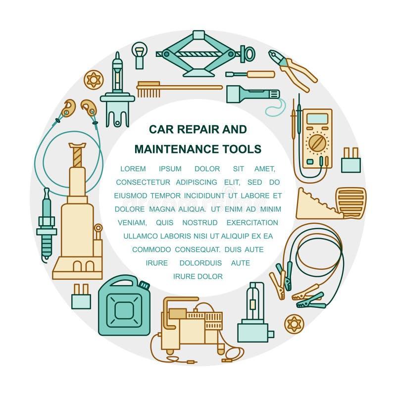 Sammlung Autoreparatur- und -wartungswerkzeuge stock abbildung