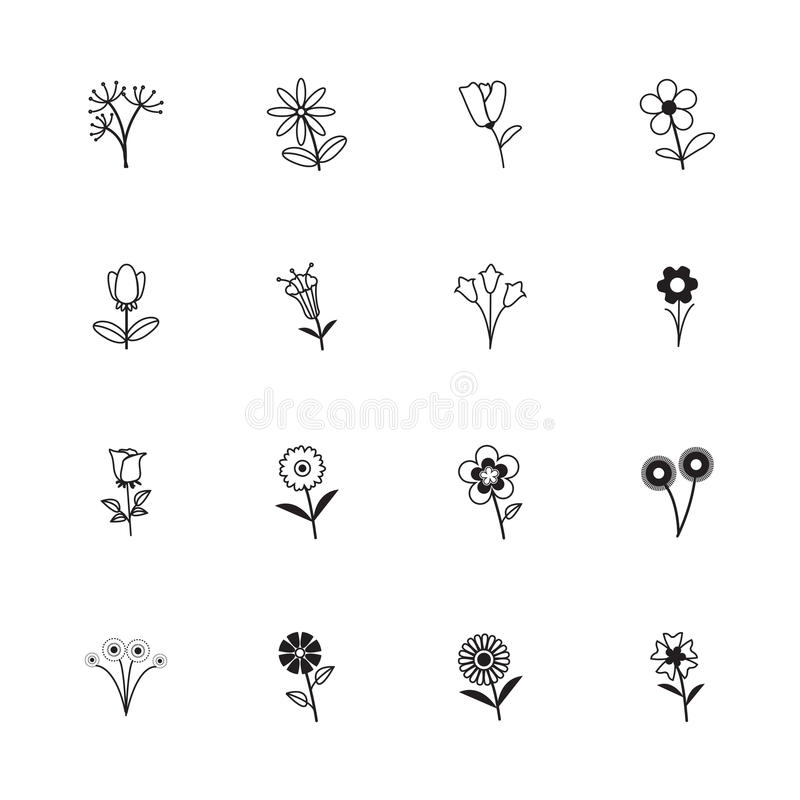 Sammlung Blumenikonen stock abbildung
