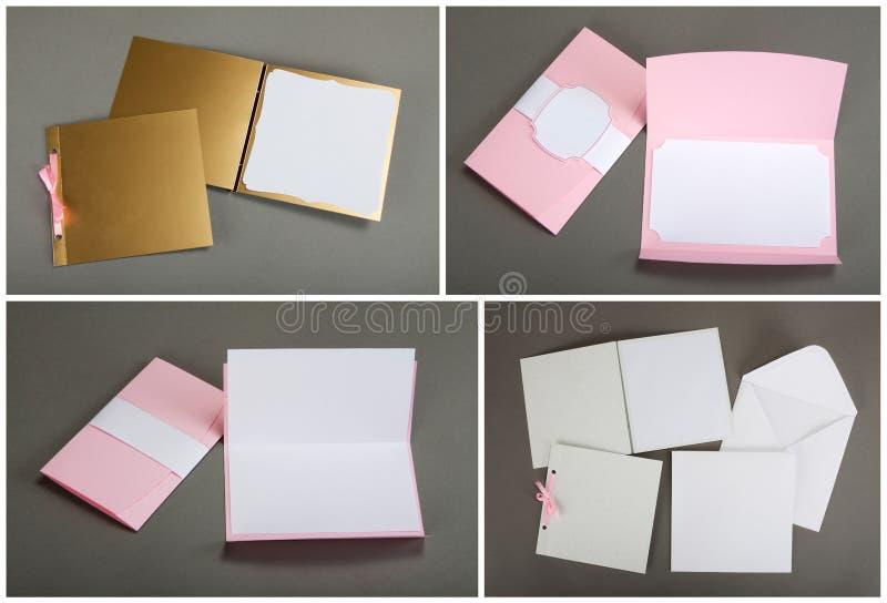 Sammlung bunte Karten und Umschläge über grauem Hintergrund lizenzfreie stockfotos