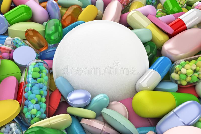 Sammlung bunte Pillen - 3d übertragen lizenzfreie abbildung