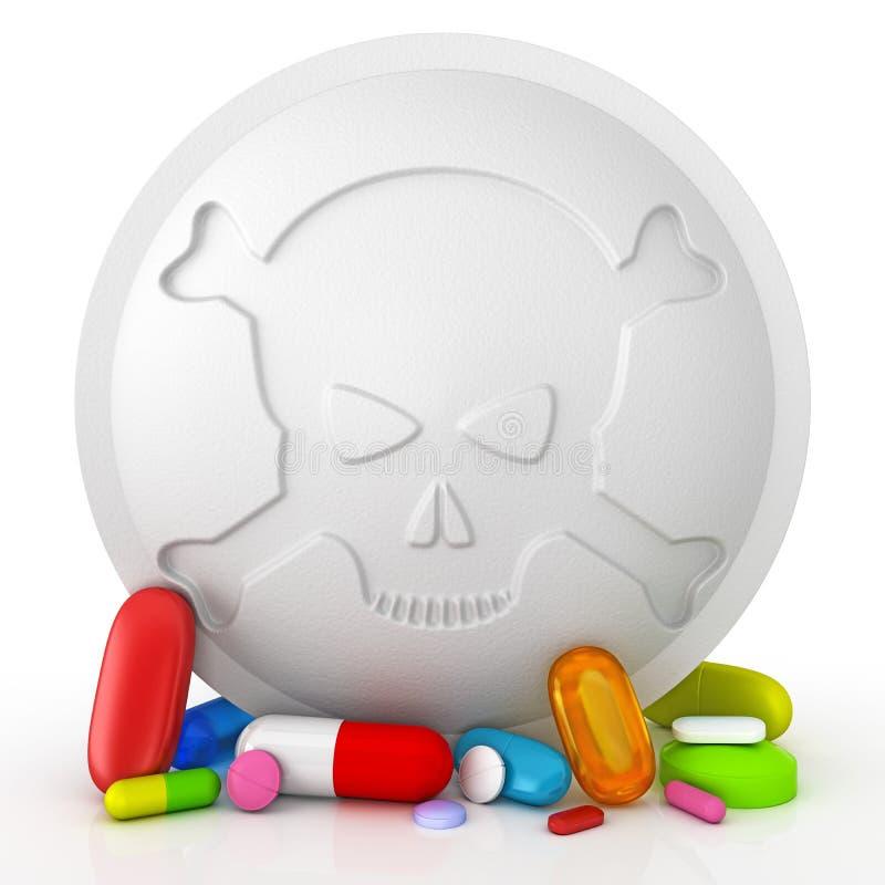 Sammlung bunte Pillen mit dem Totenkopf mit gekreuzter Knochen lizenzfreie abbildung