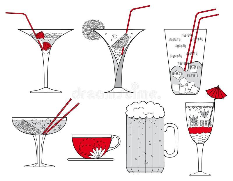 Cocktail Gläser sammlung cocktail gläser tasse kaffee und glas bier illustration
