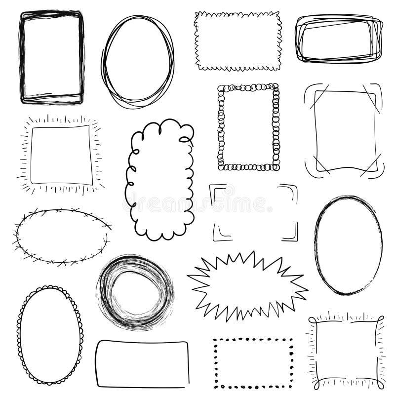 Sammlung dekorative schwarze Handgezeichnete Rahmen auf weißem Hintergrund Einfache, Schmutz-, Skizzen- und Gekritzelart lizenzfreie abbildung