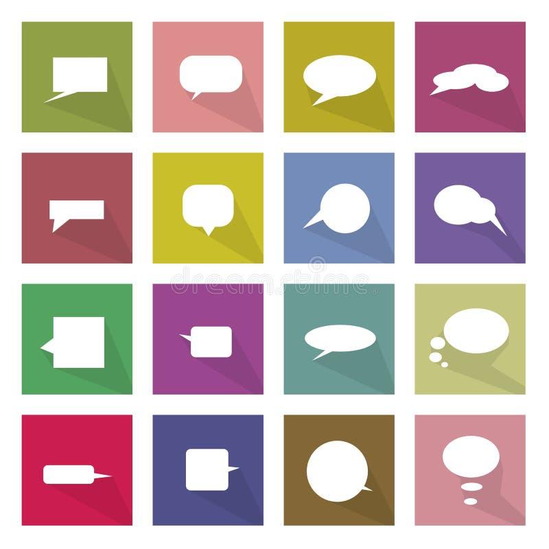 Sammlung 16 der Gedanken-Blasen-Ikonen-Fahne vektor abbildung
