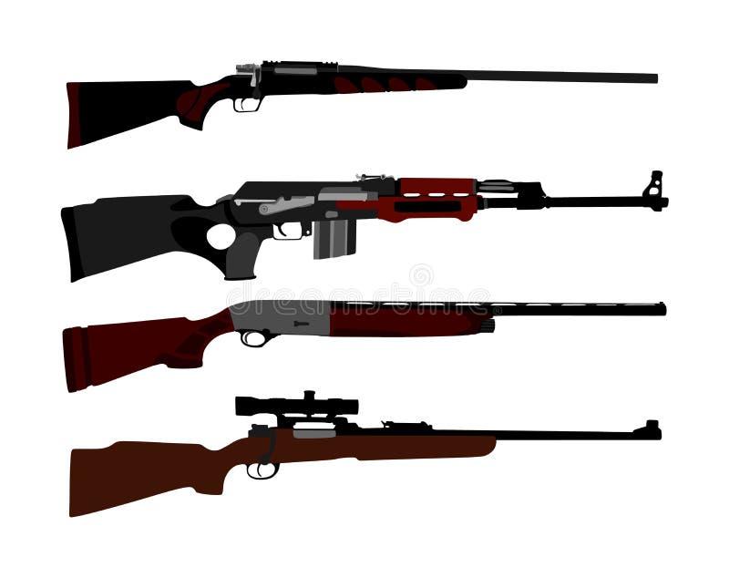Sammlung der Gewehrschattenbildillustration lokalisiert auf wei?em Hintergrund Scharfsch?tzegewehr-Symbolschattenbild, halb autom stock abbildung