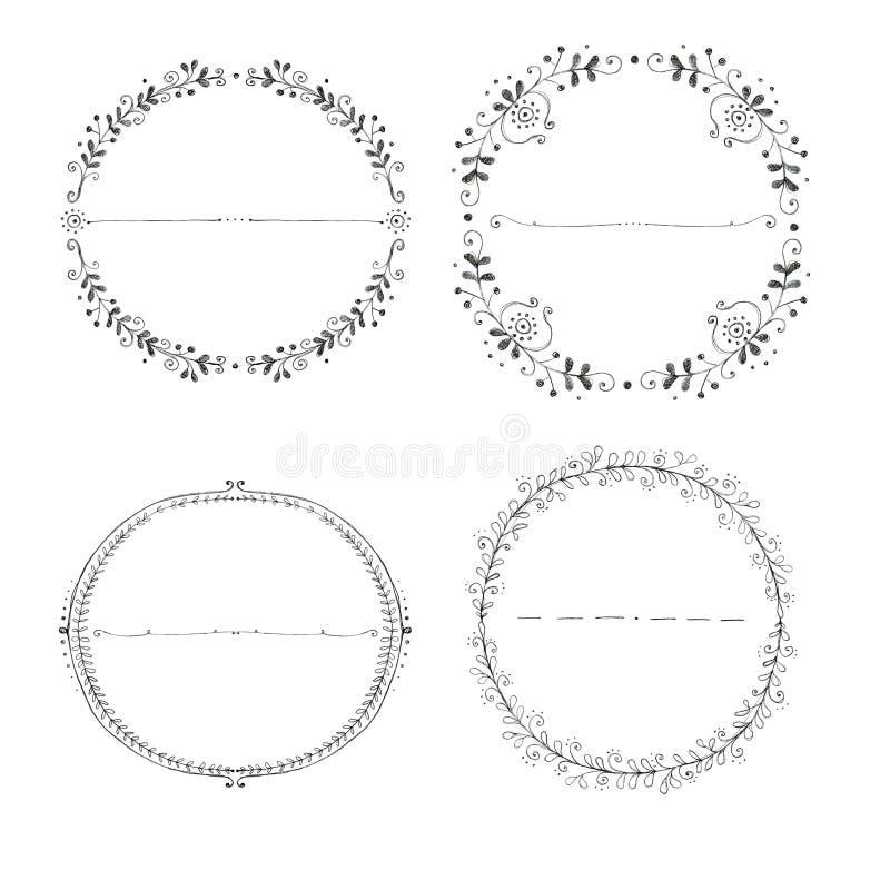 Sammlung der Hand gezeichnet ringsum Kränze vektor abbildung