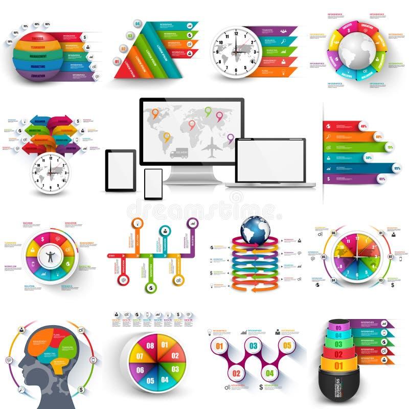 Sammlung der infographic Vektordesignschablone stock abbildung