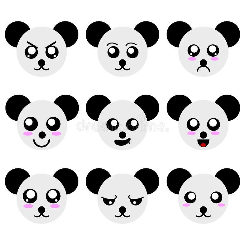 Sammlung der Karikatur Panda Faces lokalisiert auf weißem Hintergrund Verschiedene Gefühle, Ausdrücke Vektor illustation lizenzfreie abbildung