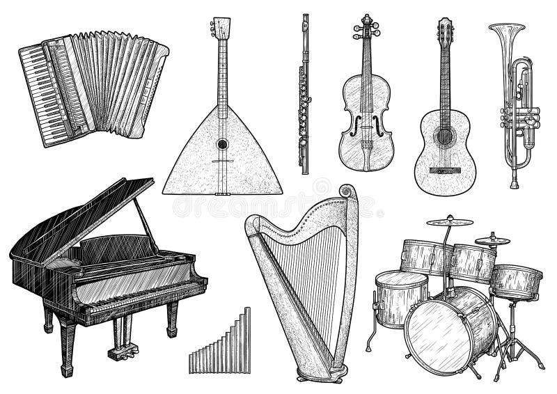 Sammlung der Musikinstrumentillustration, Zeichnung, Stich, Tinte, Linie Kunst, Vektor lizenzfreie abbildung