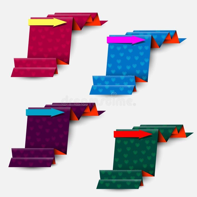 Sammlung der strukturierten Bänder mit Pfeilen stock abbildung