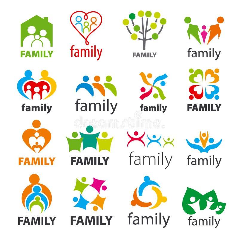 Sammlung der Vektorlogofamilie lizenzfreie abbildung