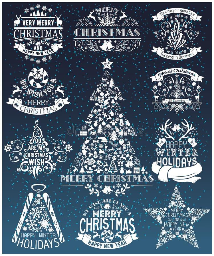 Sammlung der Weinlese-frohen Weihnachten und des guten Rutsch ins Neue Jahr Aufkleber vektor abbildung