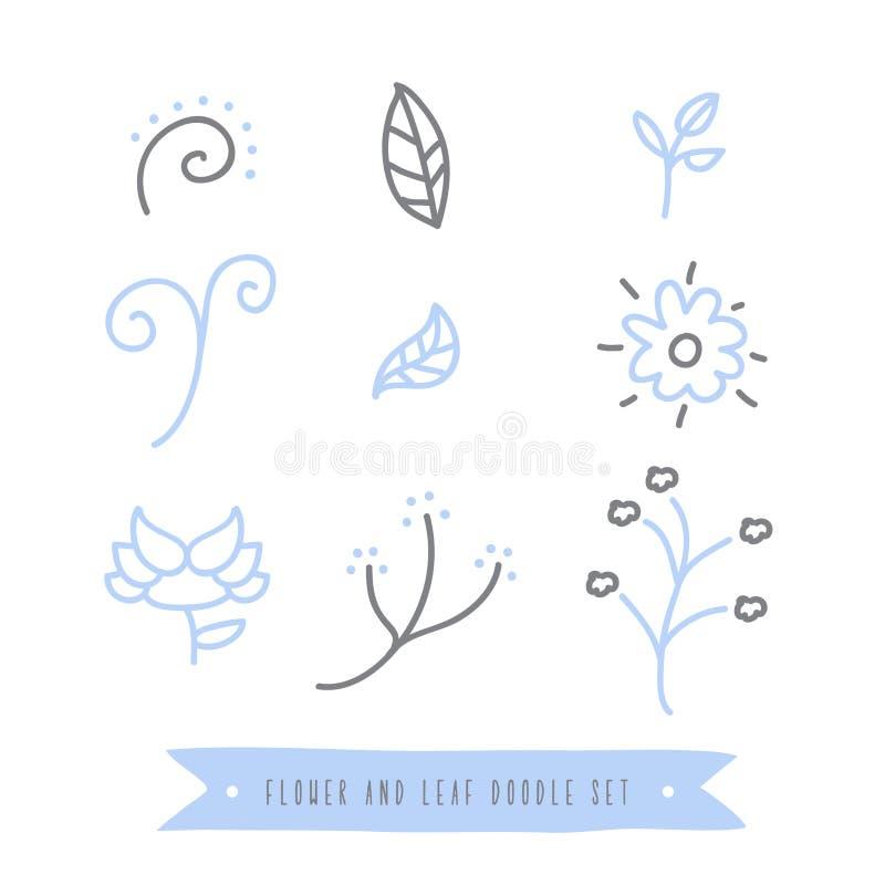 Sammlung des Blumen- und Blattgekritzels stellte auf weißen Hintergrund, der Vektor ein und zeichnete lizenzfreies stockfoto