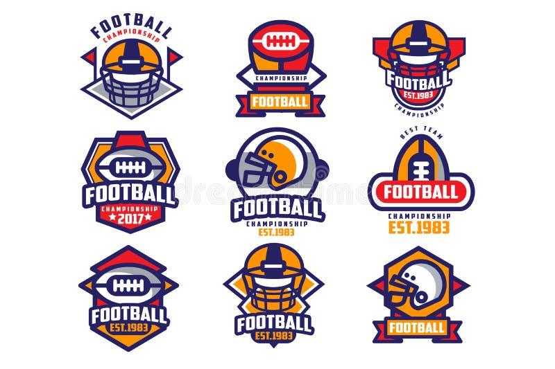 Sammlung des bunten Logos des amerikanischen Fußballs Aufkleber mit ovalgeschnittenen Rugbyballs und Schutzhelmen sport lizenzfreie abbildung