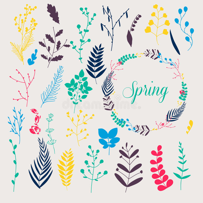 Sammlung des Frühlinges blüht, Blätter, Löwenzahn, Gras Design f stock abbildung