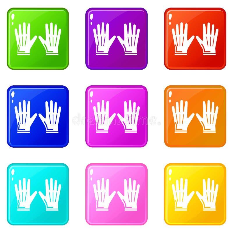 Sammlung des Gartenhandschuhikonensatzes 9 Farb stock abbildung