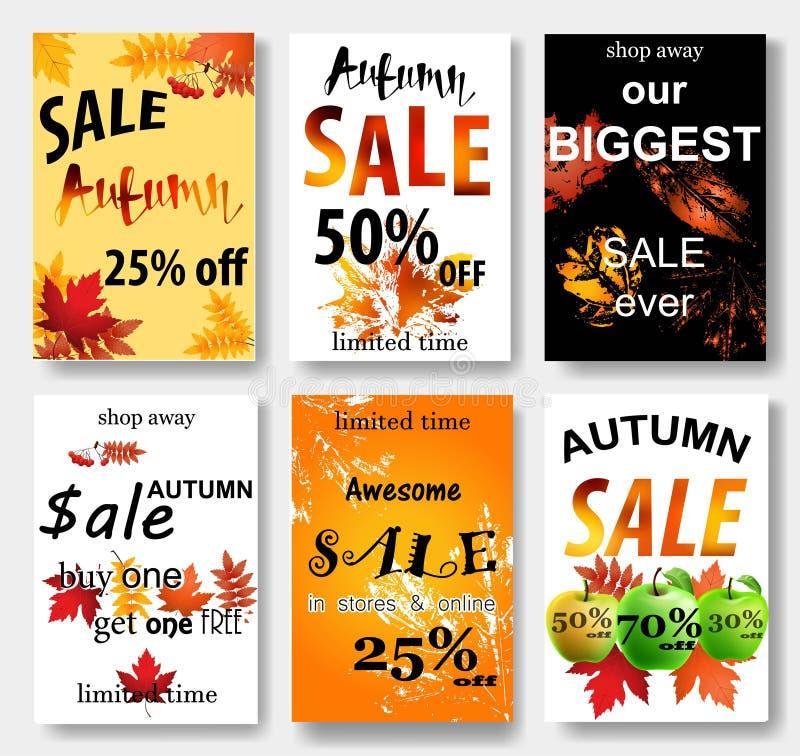Sammlung des Herbstverkaufs und anderer Typografiefliegerschablone vektor abbildung