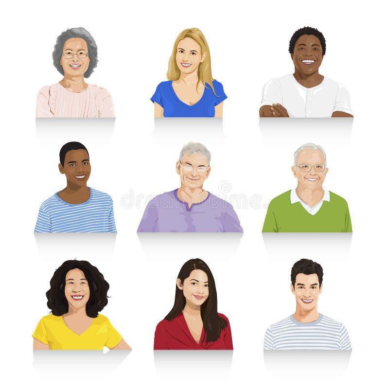 Sammlung des multiethnischen Leute-Vektors vektor abbildung