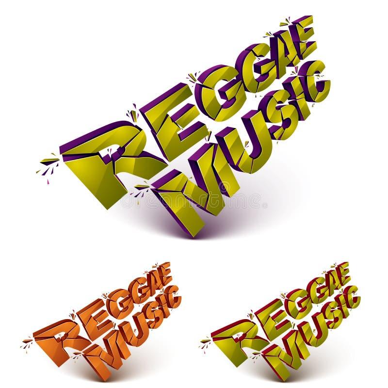 Sammlung des Musikwortes der Reggae 3d gebrochen in Stücke, demolishe stock abbildung