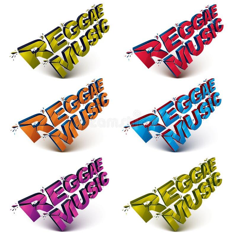 Sammlung des Musikwortes der Reggae 3d gebrochen in Stücke, demolishe lizenzfreie abbildung