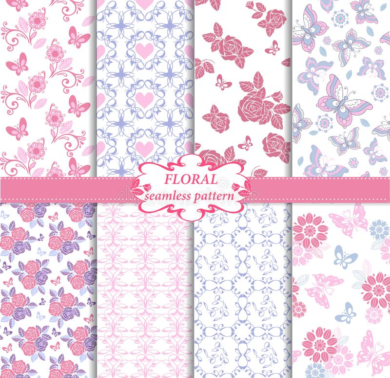 Sammlung des nahtlosen Musters in den blauen und rosa Farben Endlose Beschaffenheit mit Schmetterlingen, Herzen und Rosen dekorat vektor abbildung